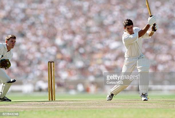 A batsman defending his wicket