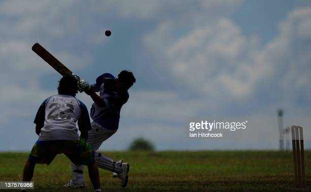 A batsman ducks out of the way of a bouncer during the 2012 Goldfield Ashes cricket competition on January 21 2012 in Charters Towers Australia Every...