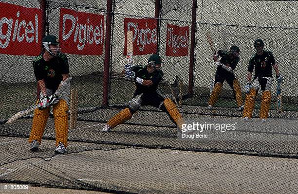 Batsman for team Australia works out in the cages during training before the OneDay International game four match between Australia and West Indies...