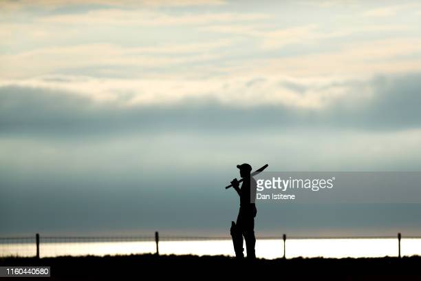 A batsman from Bude CC looks on during the Cornwall Cricket League Division 2 East match between Bude CC and Menheniot/Looe CC at Crooklets Cricket...