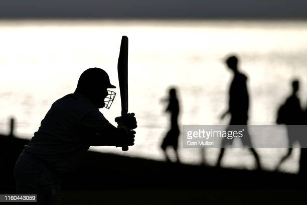 A batsman from Bude CC plays a shotduring the Cornwall Cricket League Division 2 East match between Bude CC and Menheniot/Looe CC at Crooklets...