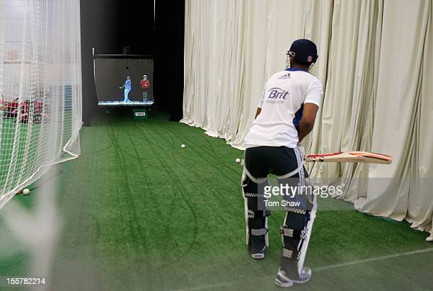 Batsman in the Pro Batter nets during the ECB England Performance Programme Training session at Loughborough University on November 8, 2012 in...