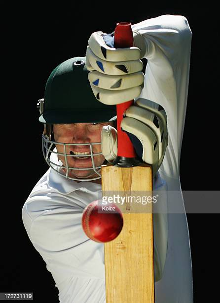 batsman playing defensive stroke - cricket bat stock pictures, royalty-free photos & images