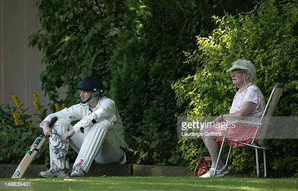 A batsman waits for his time at the crease during a game of cricket at Booth Cricket Club on July 09 2005 in Booth England