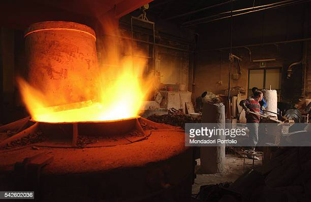 Battaglia artistic foundry in Milan This is the foundry where the works by Italian sculptor Arnaldo Pomodoro are made The furnace where bronze is...