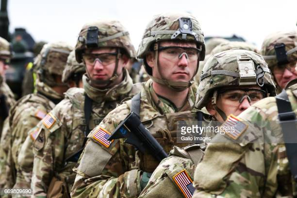 NATO Battalion Battle Group participate in the welcoming of the NATO Multinational Battalion Group on April 13 2017 in Orzysz Poland The welcome...
