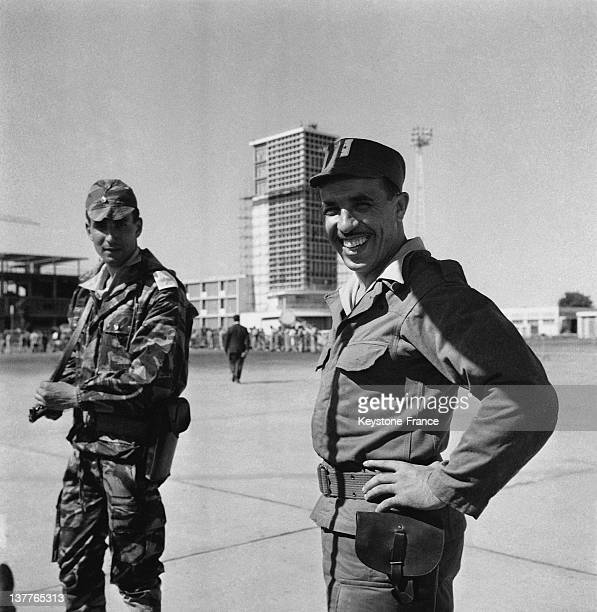 ALN battalion with the Commander Azzedine war name of Rabah Zerari waiting for the arrival of the provisional government of the Algerian republic at...
