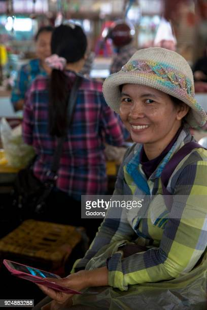 Battambang market shopkeeper Cambodia