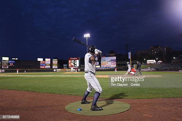 A batter in the batters box during the Rochester Red Wings V The Scranton/WilkesBarre RailRiders Minor League ball game at Frontier Field Rochester...