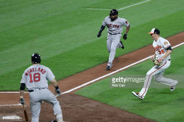 Batter Mitch Moreland looks on as Jackie Bradley Jr #19 of the Boston Red Sox comes in to score the game winning run on a wild pitch by Brad Brach of...