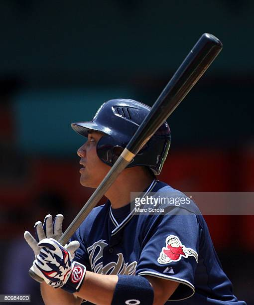 Batter Tadahito Iguchi of the San Diego Padres bats against the Florida Marlins at Dolphin Stadium May 4 2008 in Miami Florida The Marlins defeated...