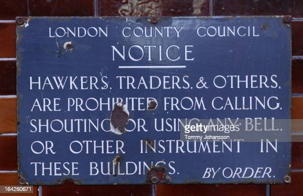 Battered London County Council Notice sign, prohibiting itinerant traders from making noise to draw attention to themselves.