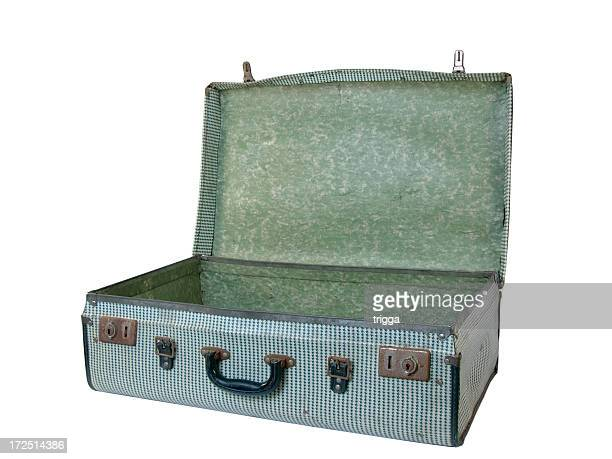 Battered retro suitcase, angled view