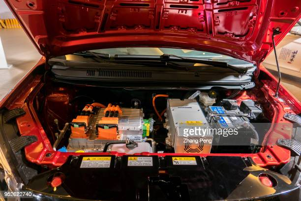 Batteries of an ecar are shown to the customers on the Expo New energy vehicle is now the key developing industry in China On April 28th the seventh...