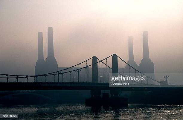 Battersea Power Station and River Thames in mist