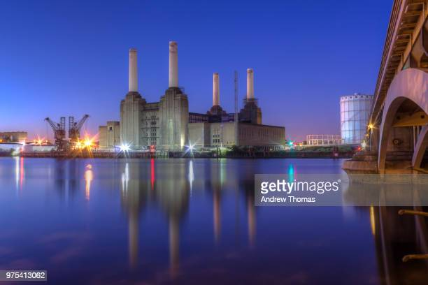 Battersea Power Station at night, London, UK