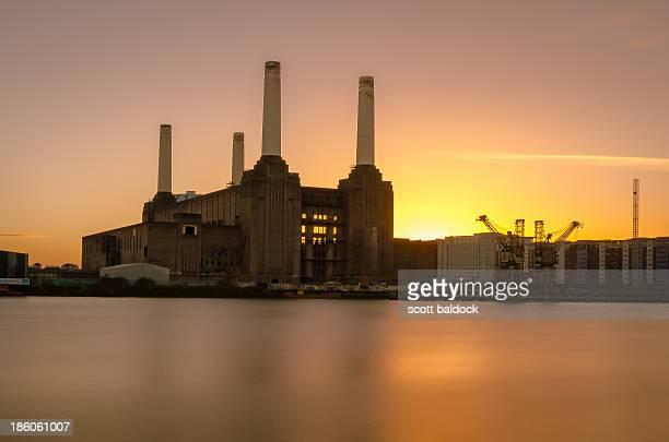 Battersea power station London river thames sunset