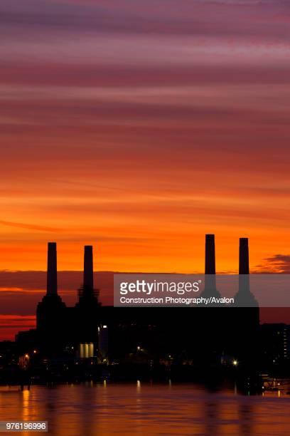 Battersea Power Station London UK sunset