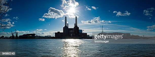 Battersea Power Station sunburst panorama River Thames London UK