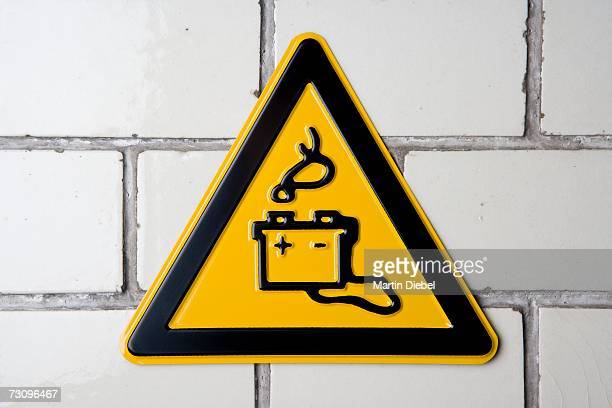 battery acid' warning sign - acid warning stock photos and pictures