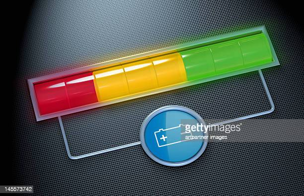 a battery charging display for an electric car - battery stock photos and pictures