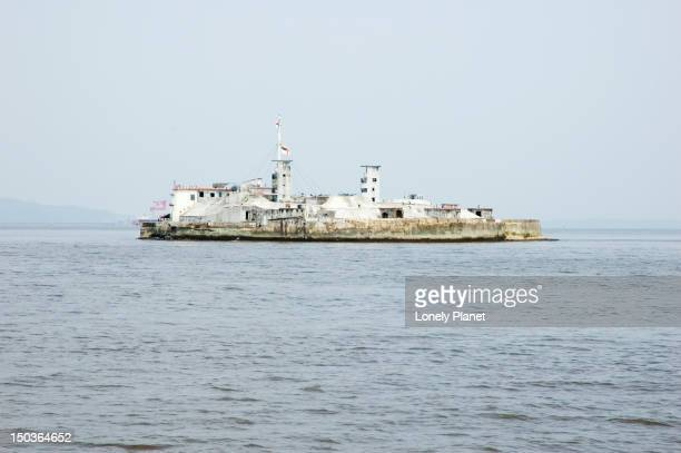 Battery Island viewed from Gateway of India to Elephanta Island.