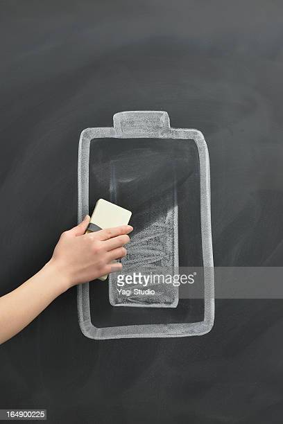 Battery mark drawing on the blackboard
