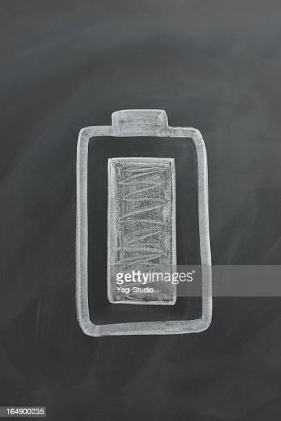 Battery mark drawing on the blackboard