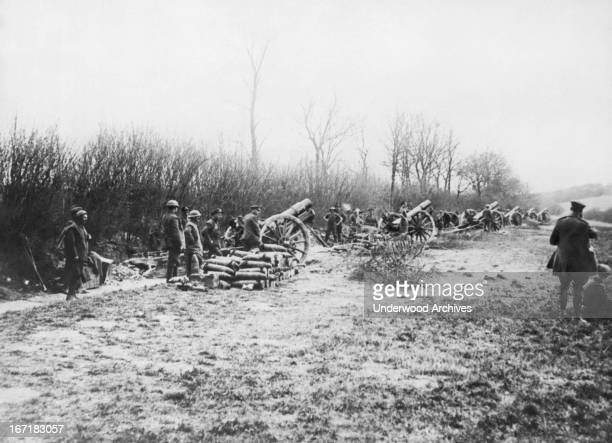 A battery of British howitzers in action against the German offensive on the Western Front Western Front Europe May 25 1918