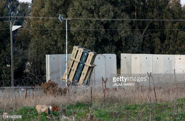 Battery of Israel's Iron Dome defence system, designed to intercept and destroy incoming short-range rockets and artillery shells, is pictured in the...