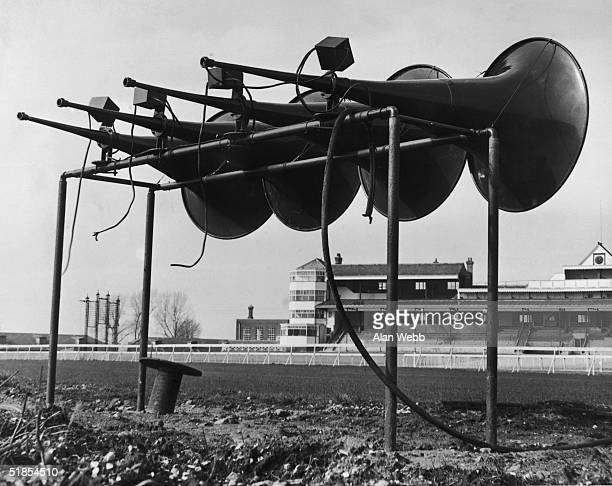 A battery of new loudspeakers recently installed at Newbury 15th March 1949 The venue is due to reopen as a race course in April 1949 after being...