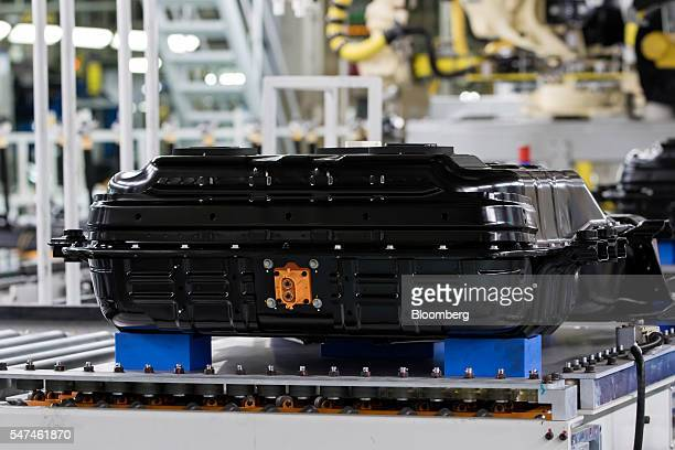 Battery pack for a Hyundai Motor Co. Ioniq electric vehicle sits on the production line at the company's plant in Ulsan, South Korea, on Monday, July...