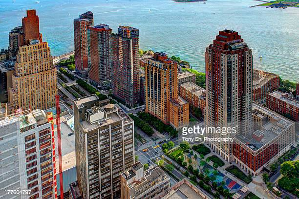 battery park city - joe dimaggio highway stock photos and pictures