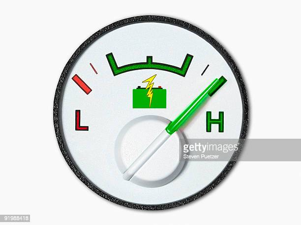 Battery volt meter with green needle at high