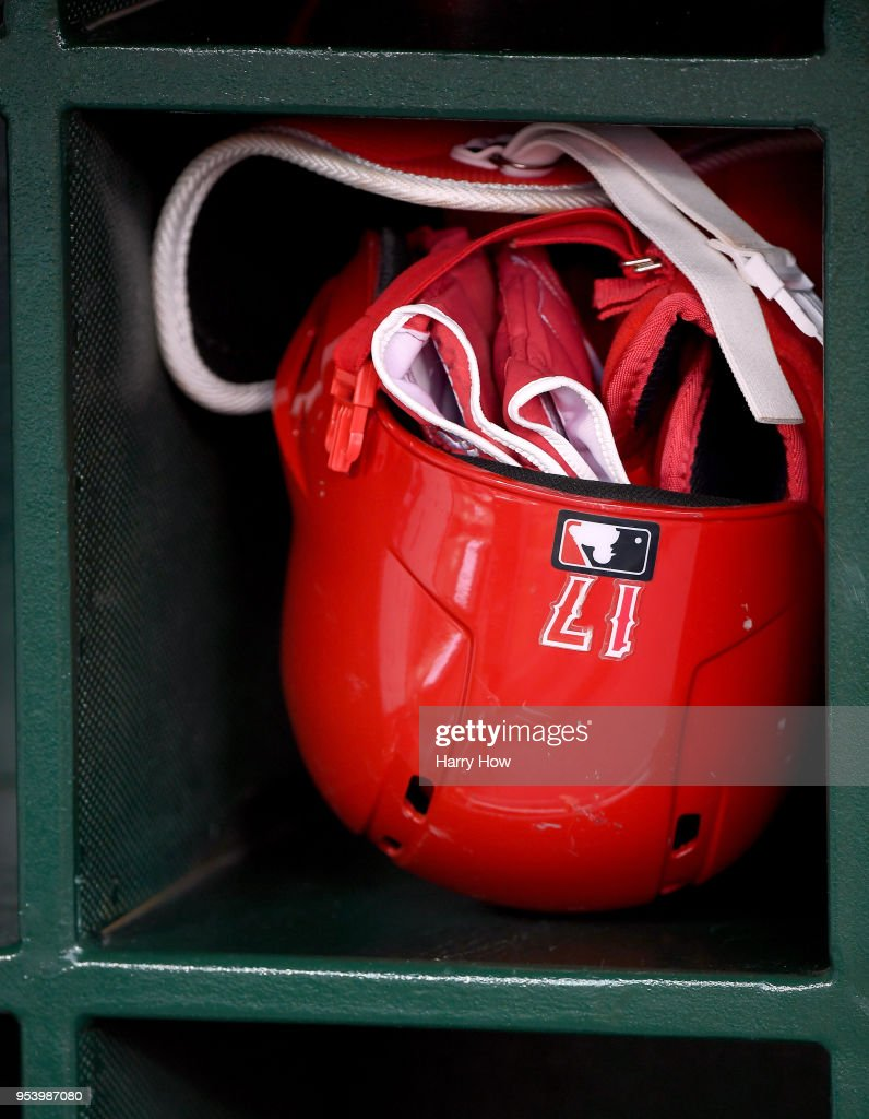 Batting helmet of Shohei Ohtani #17 of the Los Angeles Angels before the game against the Baltimore Orioles at Angel Stadium on May 2, 2018 in Anaheim, California.