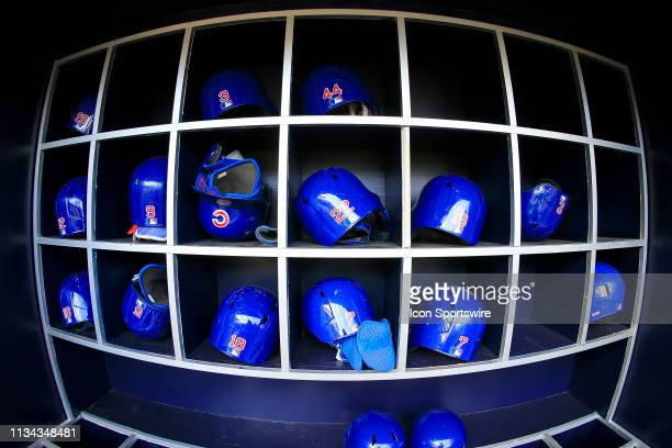 Batting helmets in the Cubs dugout prior to the MLB game between the Atlanta Braves and the Chicago Cubs on April 1 2019 at SunTrust Park in Atlanta...