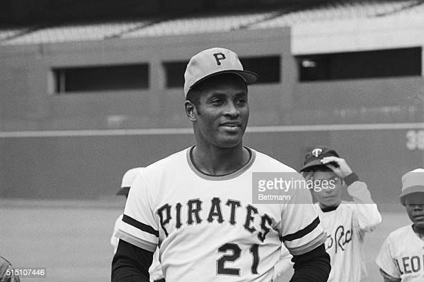 Batting hero of the 1971 World Series and newest member of the 300 hit club Roberto Clemente of the Pittsburgh Pirates before the opening game of the...
