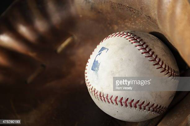 A batting practice baseball rests in a catchers mitt during Chicago White Sox spring training workouts on February 19 2014 at The Ballpark at...