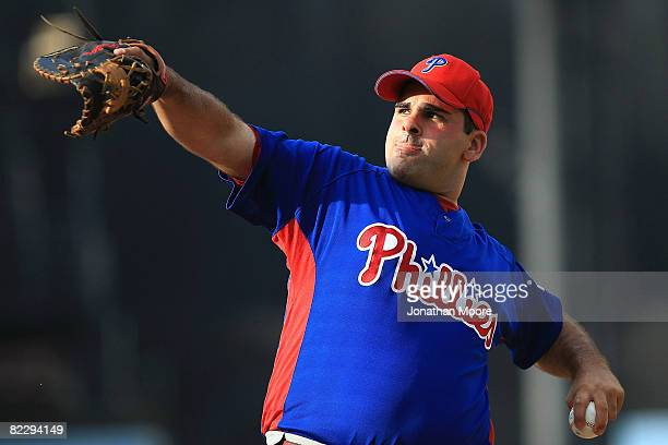Batting practice pitcher Ali Modami of the Philadelphia Phillies warms up before the game against the Los Angeles Dodgers on August 13 2008 at Dodger...