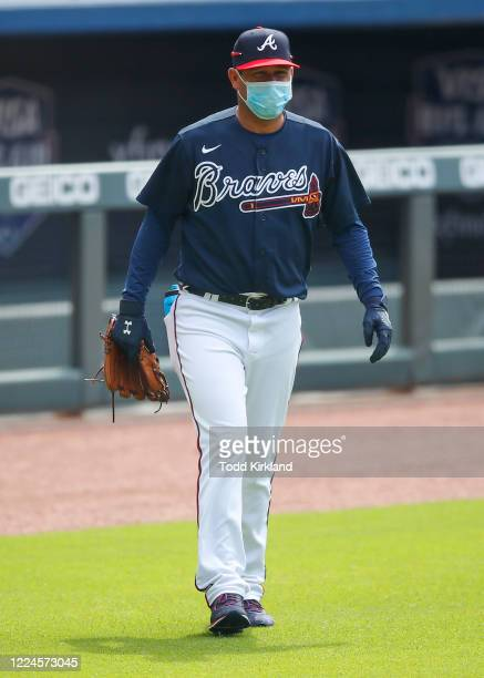 Batting practice pitcher Tomas Perez takes the field during the first day of Summer workouts at Truist Park on July 3 2020 in Atlanta Georgia