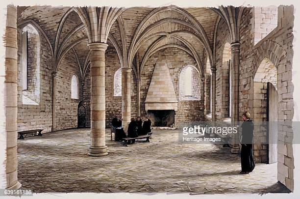 Battle Abbey 12th century Interior view Reconstruction drawing of the novices room in the 12th century Battle Abbey is a partially ruined Benedictine...