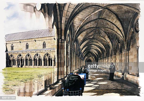 Battle Abbey 13th century Reconstruction drawing of monks in the cloister in the late 13th century Battle Abbey is a partially ruined Benedictine...