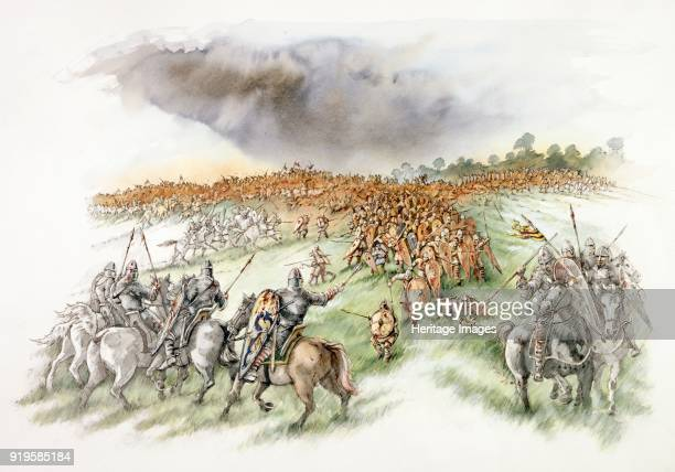 Battle Abbey East Sussex Reconstruction drawing showing the Normans feigning flight pursued by the English