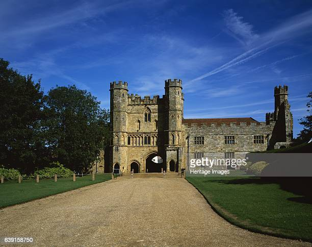 Battle Abbey East Sussex View of the Great Gatehouse and the Courthouse from the south east c19902010 Battle Abbey is a partially ruined Benedictine...