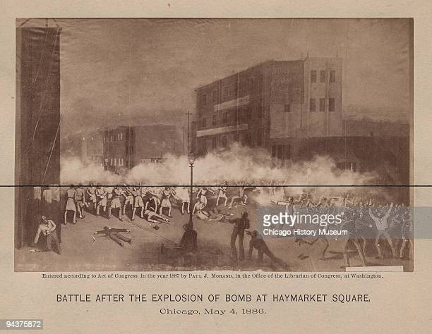 Battle after the explosion of bomb at Haymarket Square Chicago IL 1886