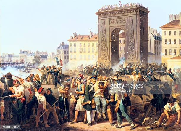 'Battle at the Porte St Denis 28th July 1830' Paris Fighting between the people and royalist troops during the French Revolution of July 1830 From...