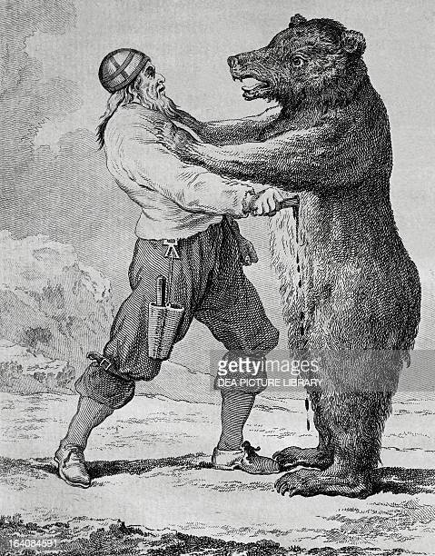 Battle between a resident and a bear in Finemark Norway engraving by Charles Eisen from the report of the North Sea expedition undertaken by Yves...