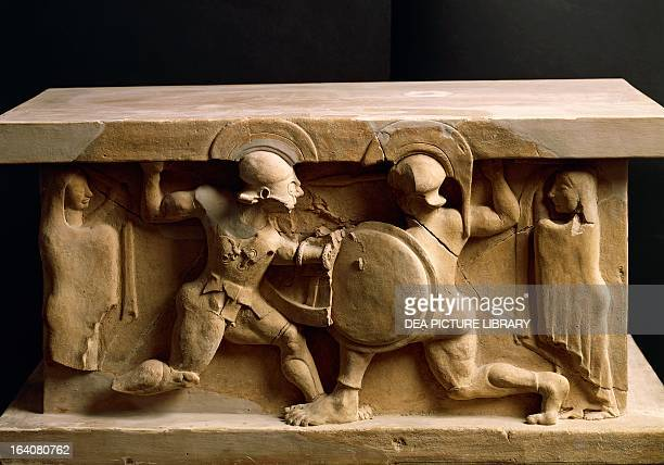 Battle between Achilles and Memnon assisted by their mothers relief from a terracotta arula taken from Locri Greek civilisation 6th century BC Reggio...