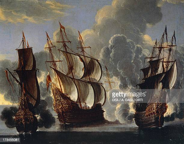 Battle between British and French ships in the Mediterranean oil on canvas 17th century Genoa Pegli Civico Museo Navale