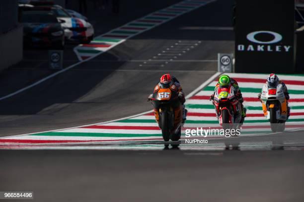 Battle between Eric Granado of Forward Racing and Joe Roberts of NTS RW Racing GP during the warmup of the Oakley Grand Prix of Italy at...